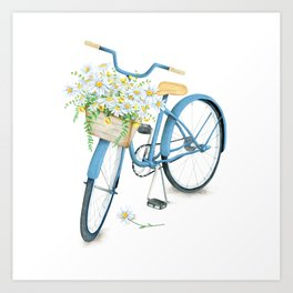 Vintage Blue Bicycle with Camomile Flowers Art Print