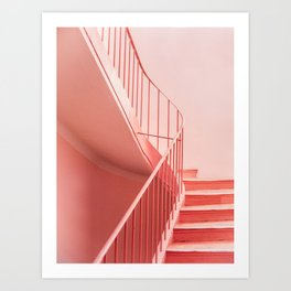 Pink steps | Pastel colored staircase in Cannes France | Travel architecture photography Art Print