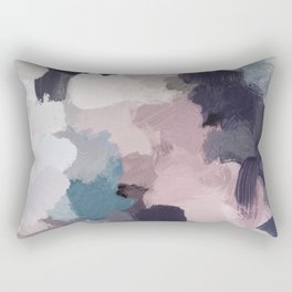 Teal Indigo Lavender Abstract Wall Art, Feminine Painting Print, Modern Wall Art Rectangular Pillow