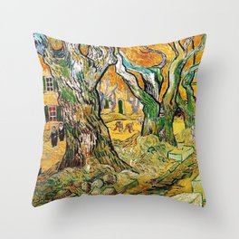 Road Works at Saint-Remy by Vincent van Gogh Throw Pillow