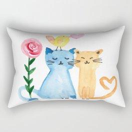 Water painting - cats, bird, heart and rose Rectangular Pillow