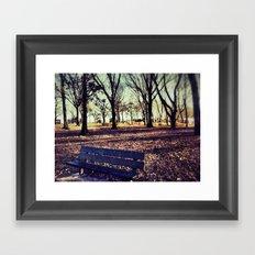 Park bench Framed Art Print