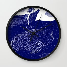 The Blue Shimmering Sea Lights Wall Clock