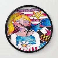 patriotic Wall Clocks featuring Patriotic Girl by Judy Skowron