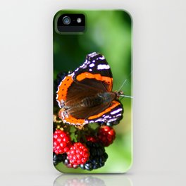 Butterfly on wild blackerries iPhone Case