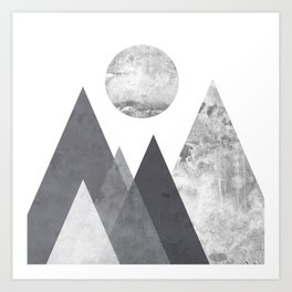 Black and Grey texture mountain geometric art print Art Print