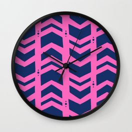 Midnight navy blue hot pink abstract geometric pattern Wall Clock