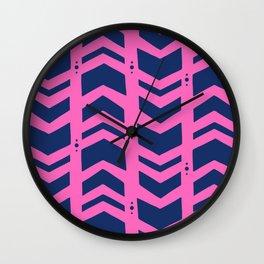 Midnight navy blue hot pink abstract geometric pattern Wall Clock
