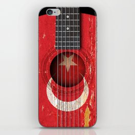 Old Vintage Acoustic Guitar with Turkish Flag iPhone Skin