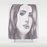 celebrity Shower Curtains featuring Celebrity Portrait by N. Rogers Fine Art