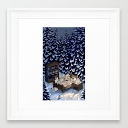 Sleepy Snow Rabbits Framed Art Print