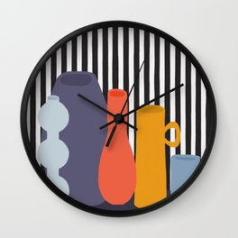 Still Life with Five Colorful Vases Wall Clock