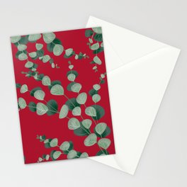 Eucalyptus leaves in red Stationery Cards