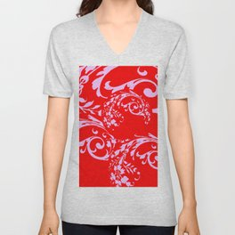 ORNATE PINK SCROLLS ON CHINESE RED ART DESIGN Unisex V-Neck