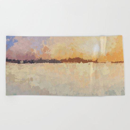 SUNSET (oil landscape) Beach Towel