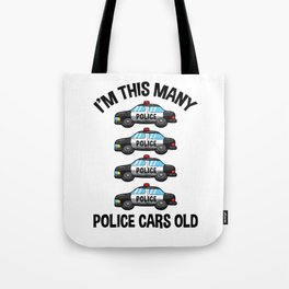I'm This Many Police Cars Old 4 Birthday Tote Bag