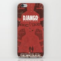 tarantino iPhone & iPod Skins featuring Django Unchained -  Quentin Tarantino Minimal Movie Poster by Stefanoreves