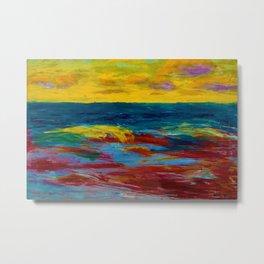 'A New England Coastal Sunset' landscape painting by Emil Nolde Metal Print