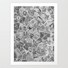 Vintage Postage Stamp Collection - 01 (BxW) Art Print