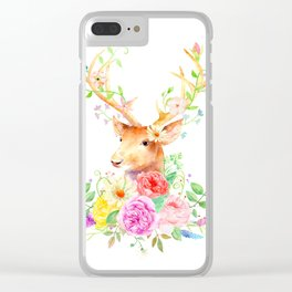 Watercolor Deer and Rose Bouquet Clear iPhone Case