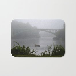 Foggy Fishing Day on the Delaware River Bath Mat