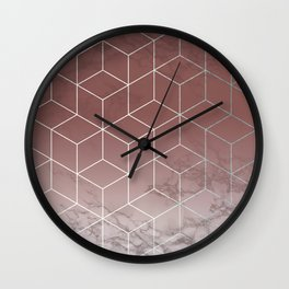 Geometric Cubes Deep Pink on Marble Wall Clock