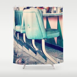Retro Diner Photograph, kitchen art, restaurant decor, shabby chic, vintage, pastels, mint and pink Shower Curtain