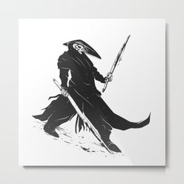 Samurai skull - japanese evil - black and white - fighter illustration - grim reaper cartoon Metal Print