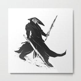 Samurai skull - japanese evil - black and white - fighter illustration - grim reaper cartoon Metal Print