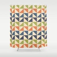 60s Shower Curtains featuring Geometric Pattern // 60s by Jennifer Robert