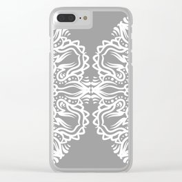 Gray Mandala Clear iPhone Case