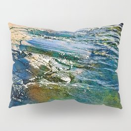 Colored sea waves licking the rock Pillow Sham