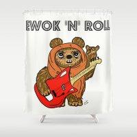 ewok Shower Curtains featuring Ewok 'N' Roll by Trinity Bennett