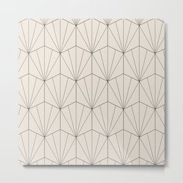 Gisela Geometric Line Pattern - Black & White Metal Print