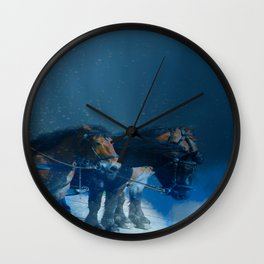 Horse drawn carriage from the sky Wall Clock