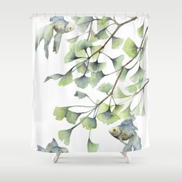 Mint Green Ginkgo Leaves and Green Goldfish Watercolor Design Shower Curtain