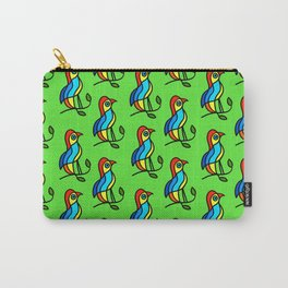 """Color Birds on a Twigs on Light Green Board  """"Paper Drawings/Paintings"""" Carry-All Pouch"""