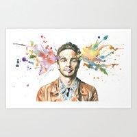 james franco Art Prints featuring Mind Blown::James Franco by James Murlin