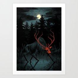 Red Elk Art Print
