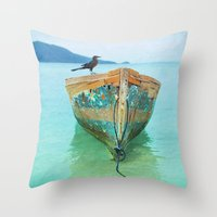 karu kara Throw Pillows featuring BOATI-FUL by Catspaws