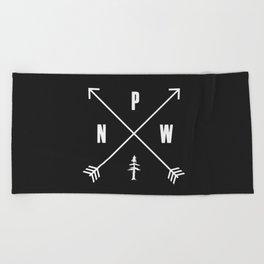 PNW Pacific Northwest Compass - White on Black Minimal Beach Towel