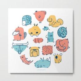 Primary Animals Metal Print