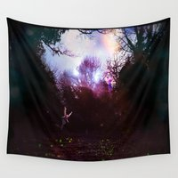 fairies Wall Tapestries featuring Fairies by the Waterside by Sarah Maurer