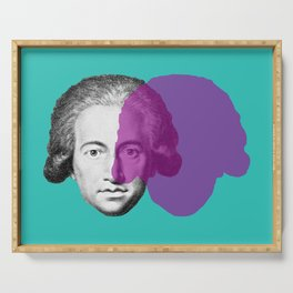 Goethe - teal and purple portrait Serving Tray