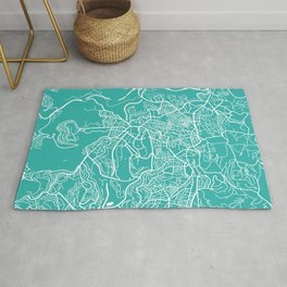 Jerusalem map turquoise Rug