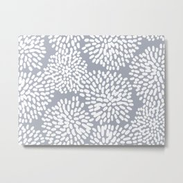 Grey and White Abstract Firework Flowers Metal Print