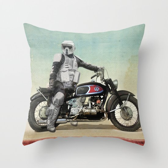 Looking for the drones, Scout Trooper Motorbike Throw Pillow