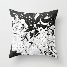 Cartoon Night Throw Pillow