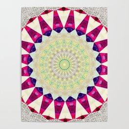 Retro Burlap Mandala Design Poster
