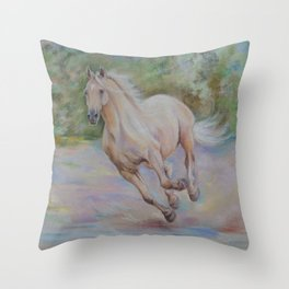 Palomino horse galloping Pastel drawing Horse portrait Equestrian decor Throw Pillow